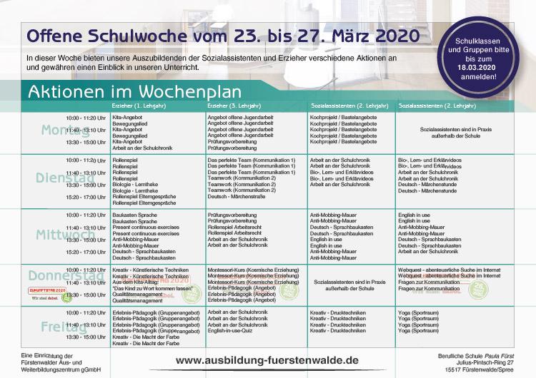 Berufliche Schule Paula Fürst FAWZ gGmbH_Woche der offenen Schule_Wochenplan_23.-27. März 2020